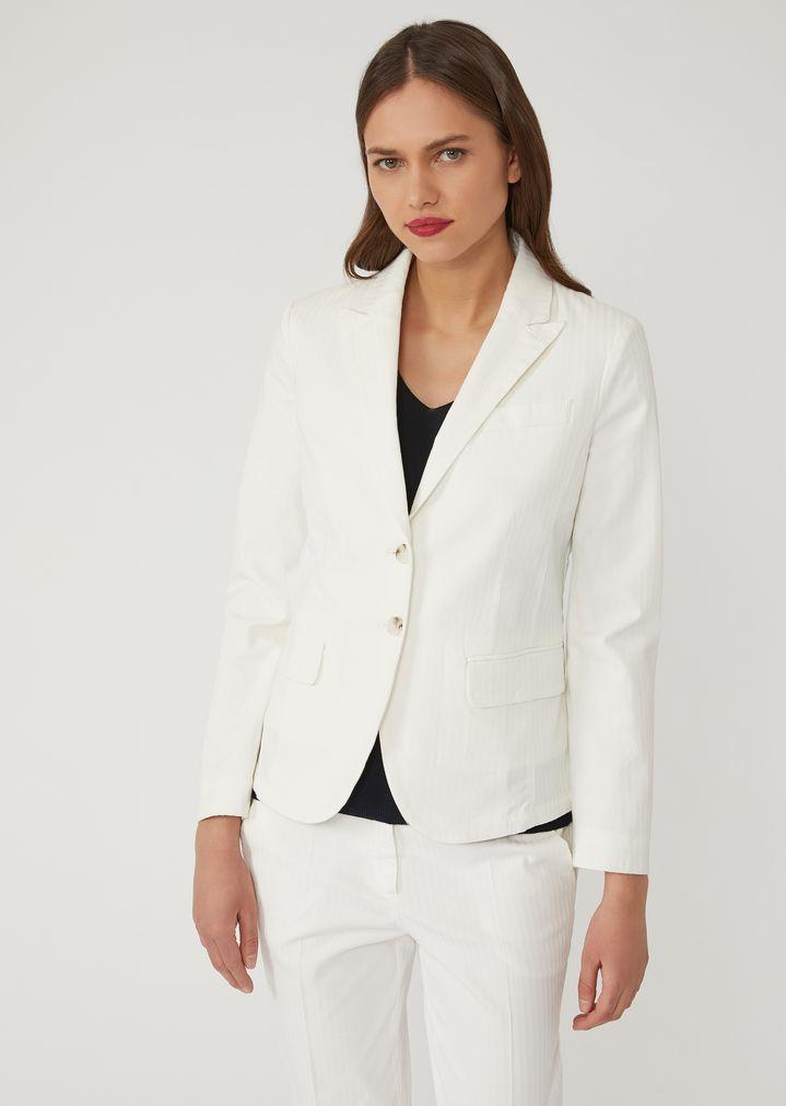 8645f4daa Chaqueta de rayas de algodón labrado elástico | Mujer | Emporio Armani
