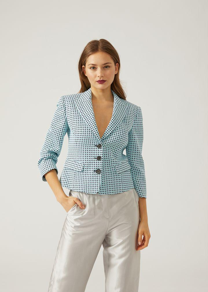 8bb08e6236 Single-breasted micro-flower jacquard blazer | Woman | Emporio Armani