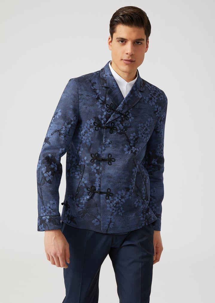 aae96f63ee Giacca in misto cotone e lino stampa floreale | Uomo | Emporio Armani