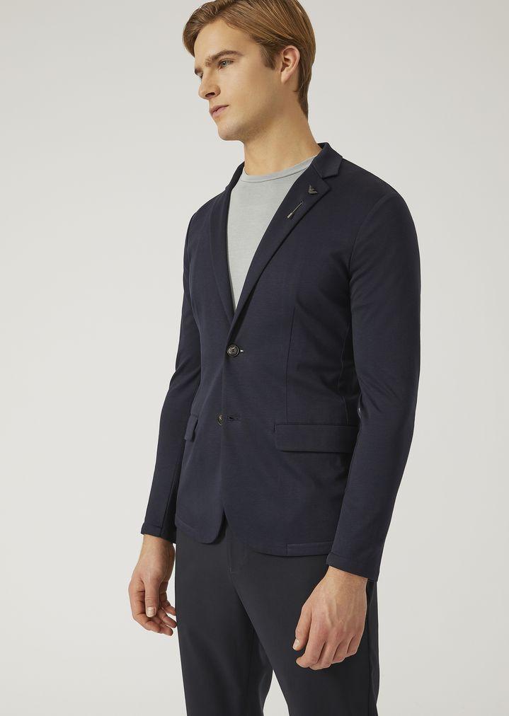 0e576fb757 Cotton interlock jersey jacket | Man | Emporio Armani