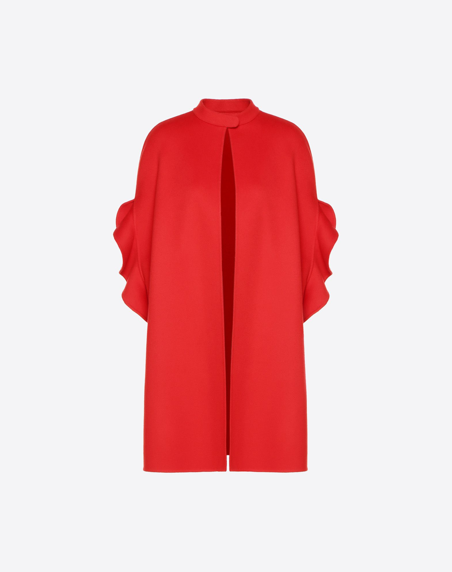 Ruffle-Sleeve Open-Front Wool-Cashmere Coat, Red