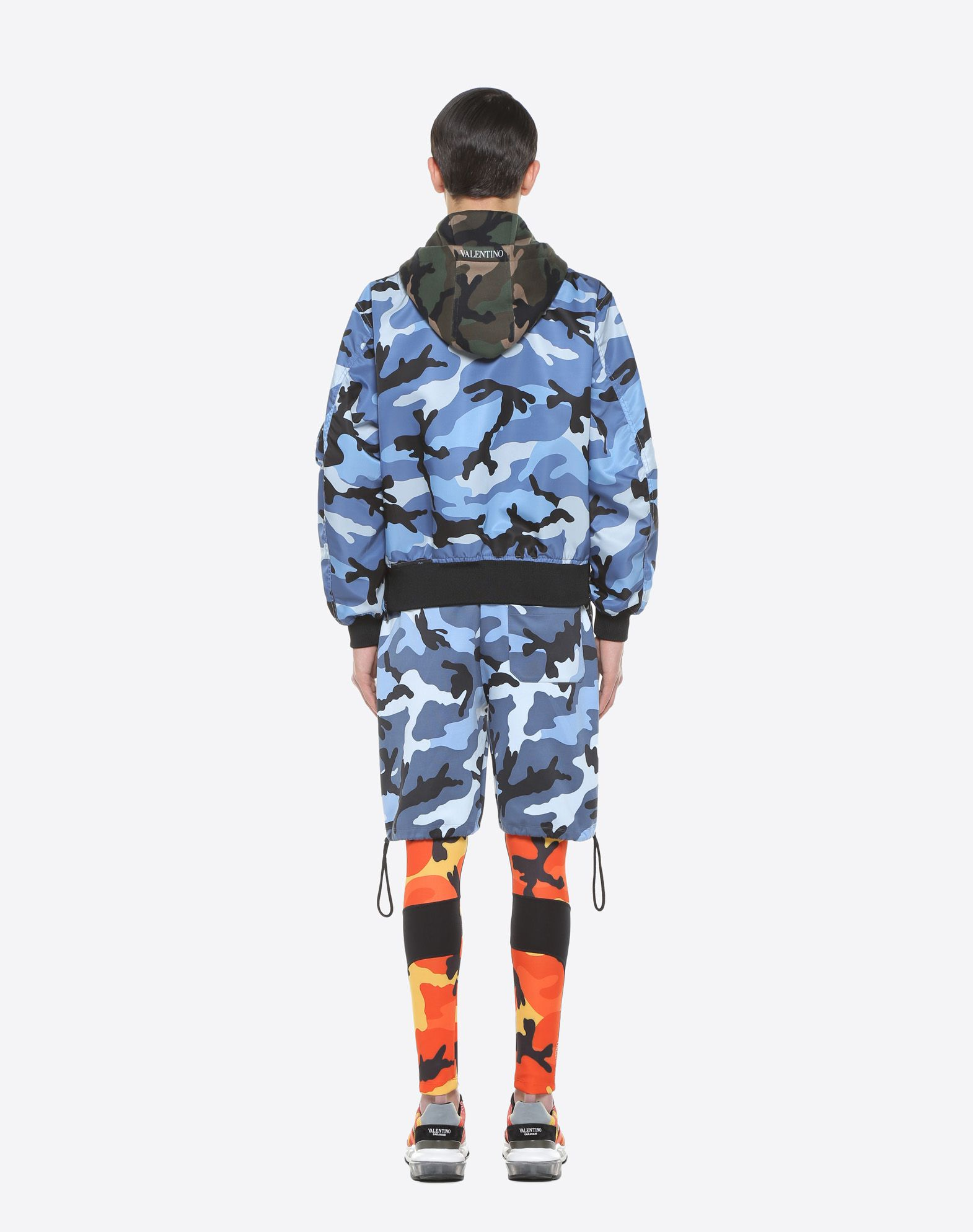 VALENTINO Techno fabric Camouflage Detachable application Fully lined Logo Long sleeves Multipockets Turtleneck One inside pocket Zip Single-breasted   41801054sf