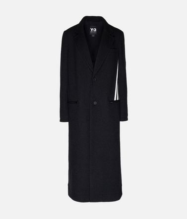 Y-3 3-Stripes Tailored Wool Coat