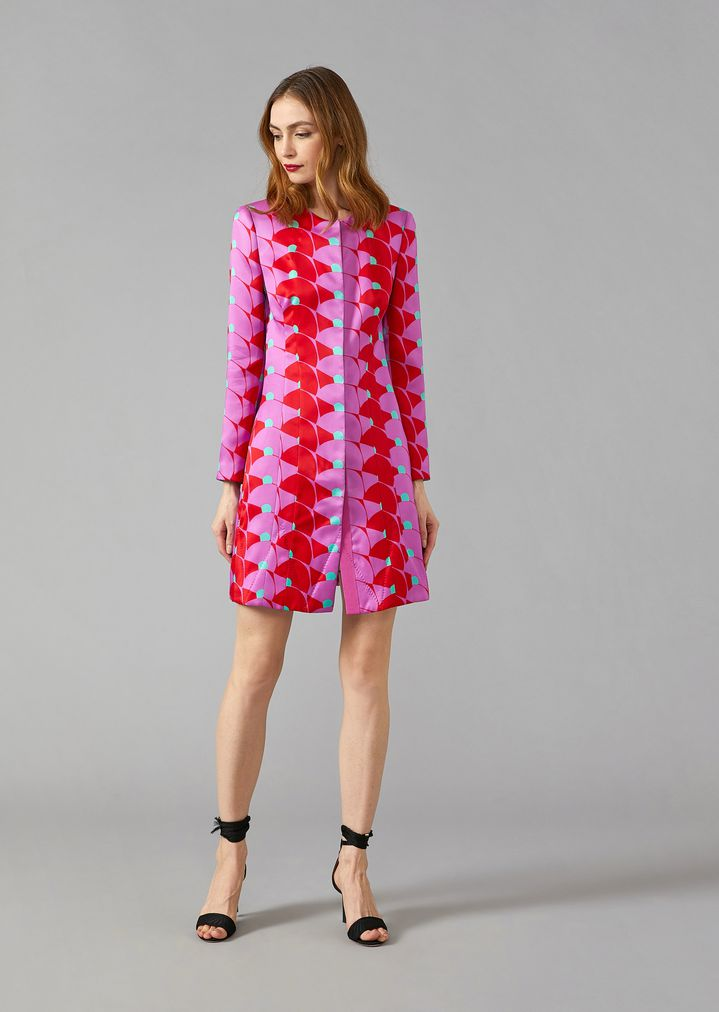 b1e764c723 Silk satin duster jacket with optical pattern | Woman | Giorgio Armani