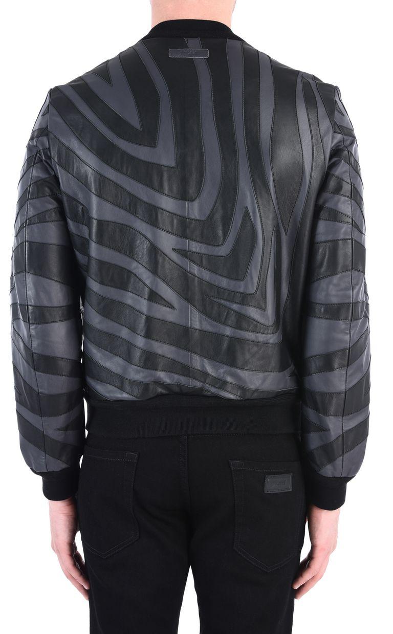 JUST CAVALLI Zebra-print leather bomber Leather Jacket [*** pickupInStoreShippingNotGuaranteed_info ***] d