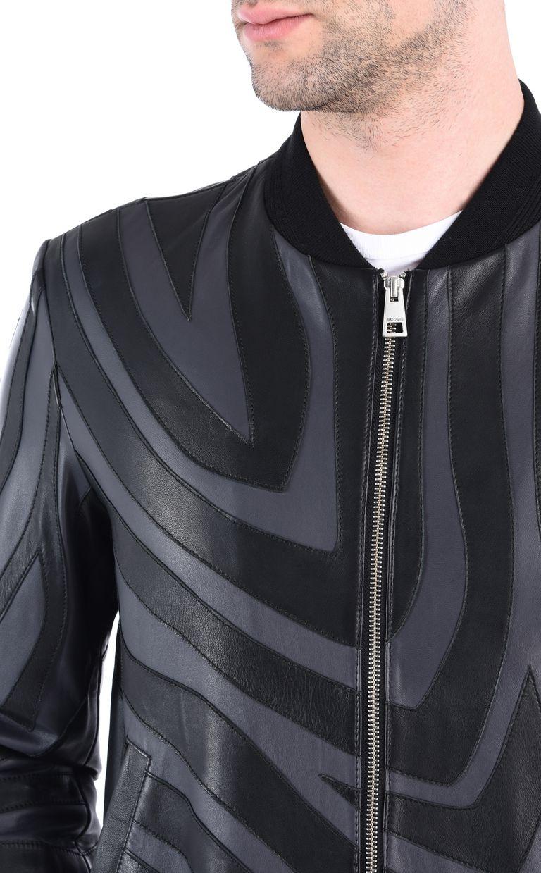 JUST CAVALLI Zebra-print leather bomber Leather Jacket [*** pickupInStoreShippingNotGuaranteed_info ***] e