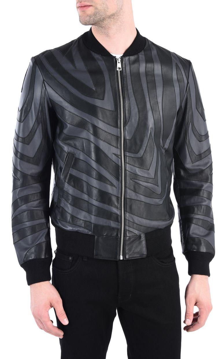 JUST CAVALLI Zebra-print leather bomber Leather Jacket [*** pickupInStoreShippingNotGuaranteed_info ***] f