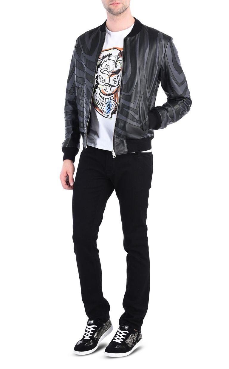 JUST CAVALLI Zebra-print leather bomber Leather Jacket [*** pickupInStoreShippingNotGuaranteed_info ***] r