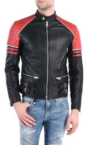 JUST CAVALLI Leather Jacket Man Quilted leather jacket f