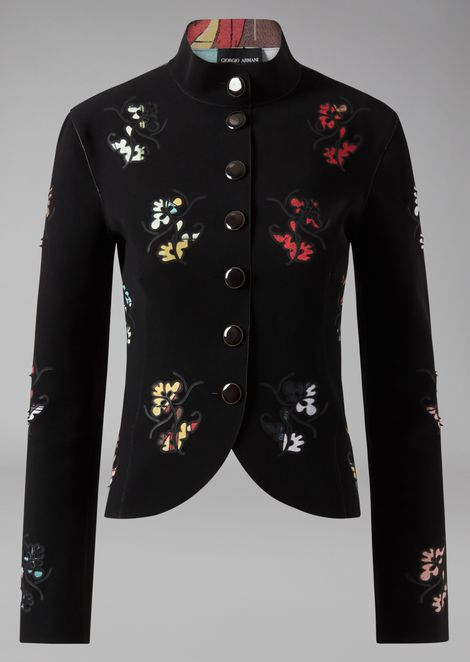 Jacket in cady with floral embroidery and inserts