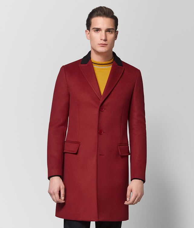BOTTEGA VENETA DARK CHINA RED WOOL CASHMERE COAT Outerwear and Jacket Man fp