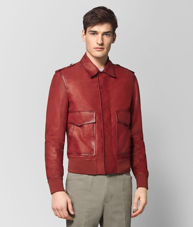 BOTTEGA VENETA DARK CHINA RED CALF JACKET Outerwear and Jacket Man fp
