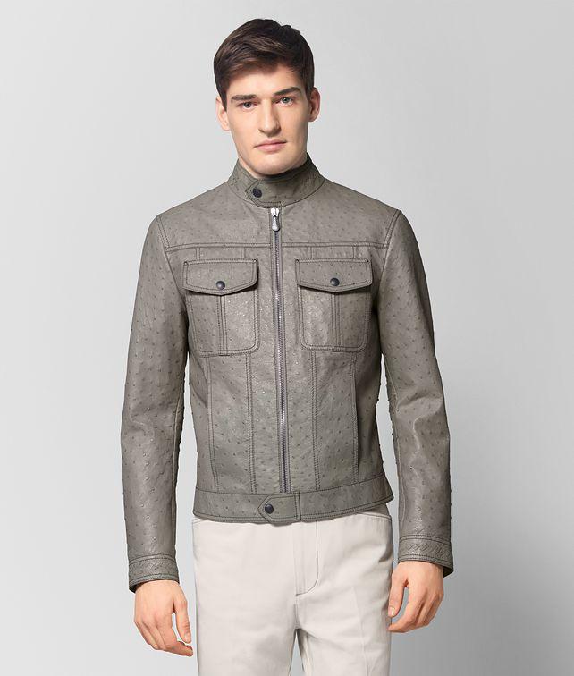BOTTEGA VENETA DARK CEMENT OSTRICH JACKET Outerwear and Jacket Woman fp
