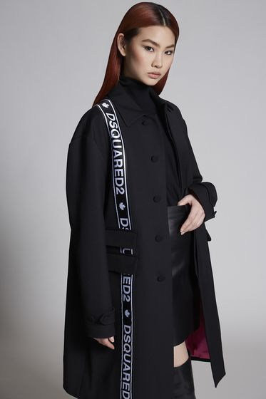 DSQUARED2 Wool Cady Oversized Tape Mod Trench 大衣 女士