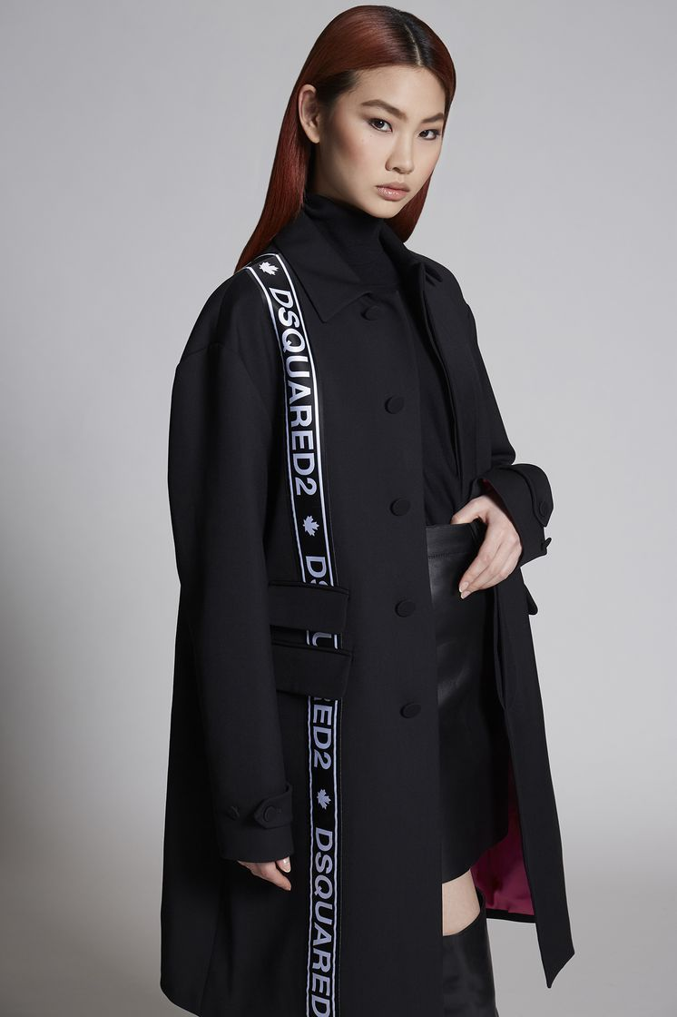 DSQUARED2 Wool Cady Oversized Tape Mod Trench Coat Woman
