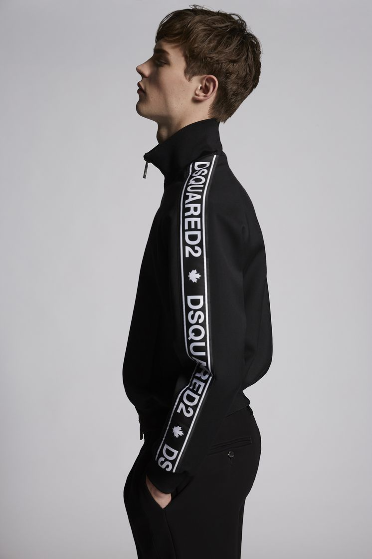 DSQUARED2 Wool Stretch Bomber With Dsquared2 Tape On Sleeves Jacket Man