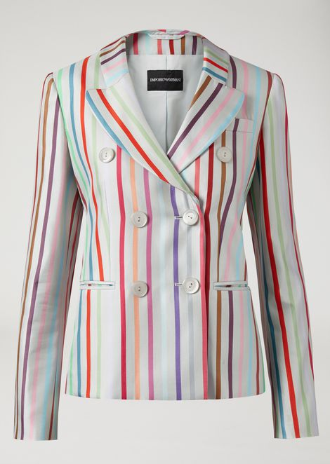 Striped silk twill double-breasted jacket