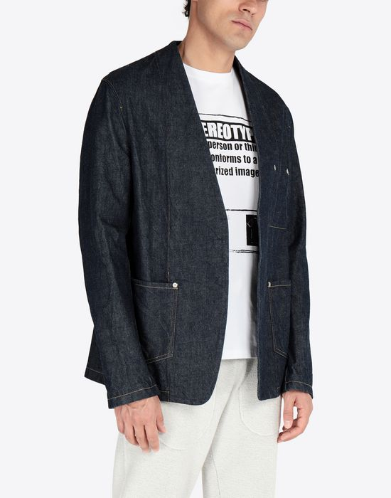 MAISON MARGIELA Collarless denim jacket Blazer [*** pickupInStoreShippingNotGuaranteed_info ***] r