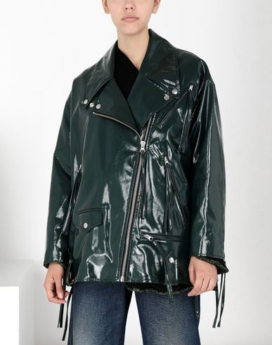 MM6 MAISON MARGIELA Laminated perfecto with fringes Blouson Femme f