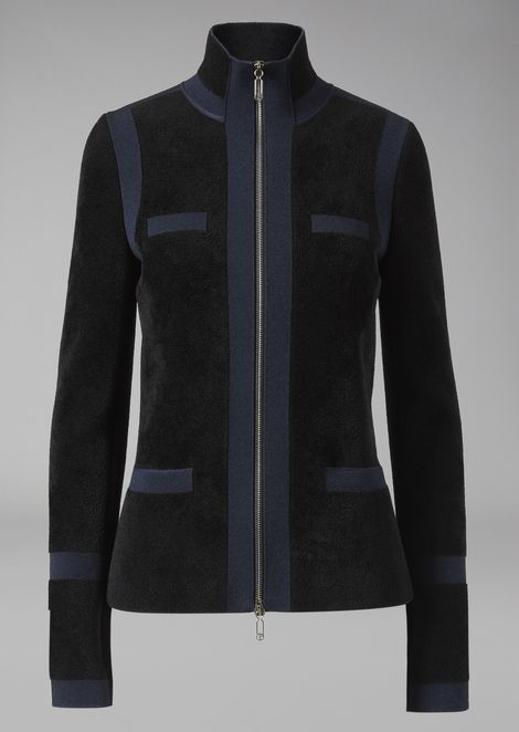 Jacket in bonded knit fabric with inlays