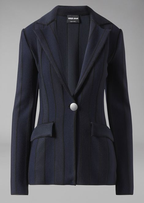 Single-breasted striped ottoman jacket