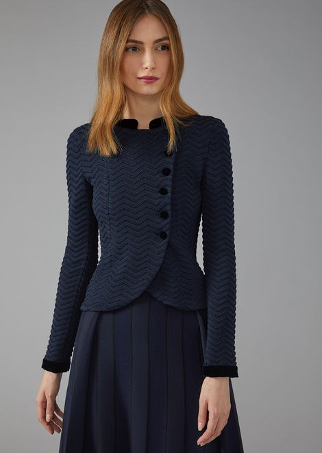 Chevron stitch asymmetric jacket with velvet detail