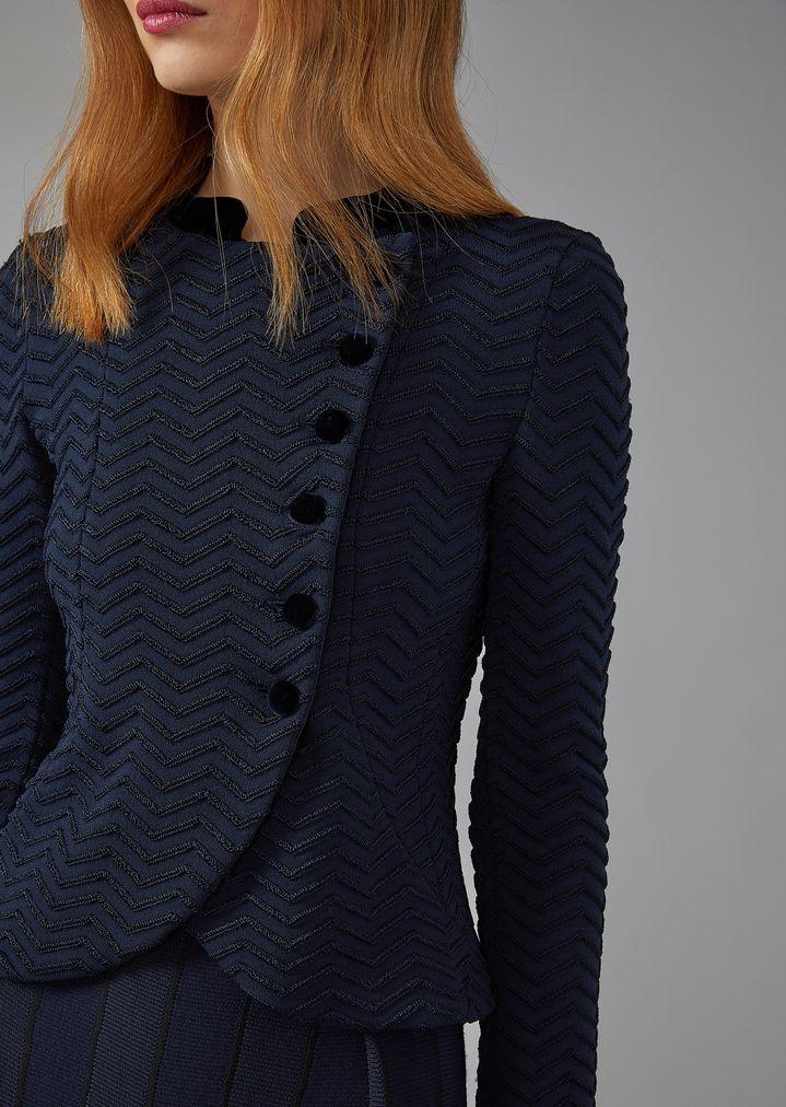 Chevron Stitch Asymmetric Jacket With Velvet Detail Woman