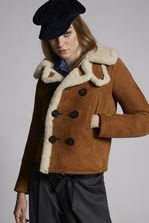 DSQUARED2 Shearling Peacoat Mid-length jacket Woman