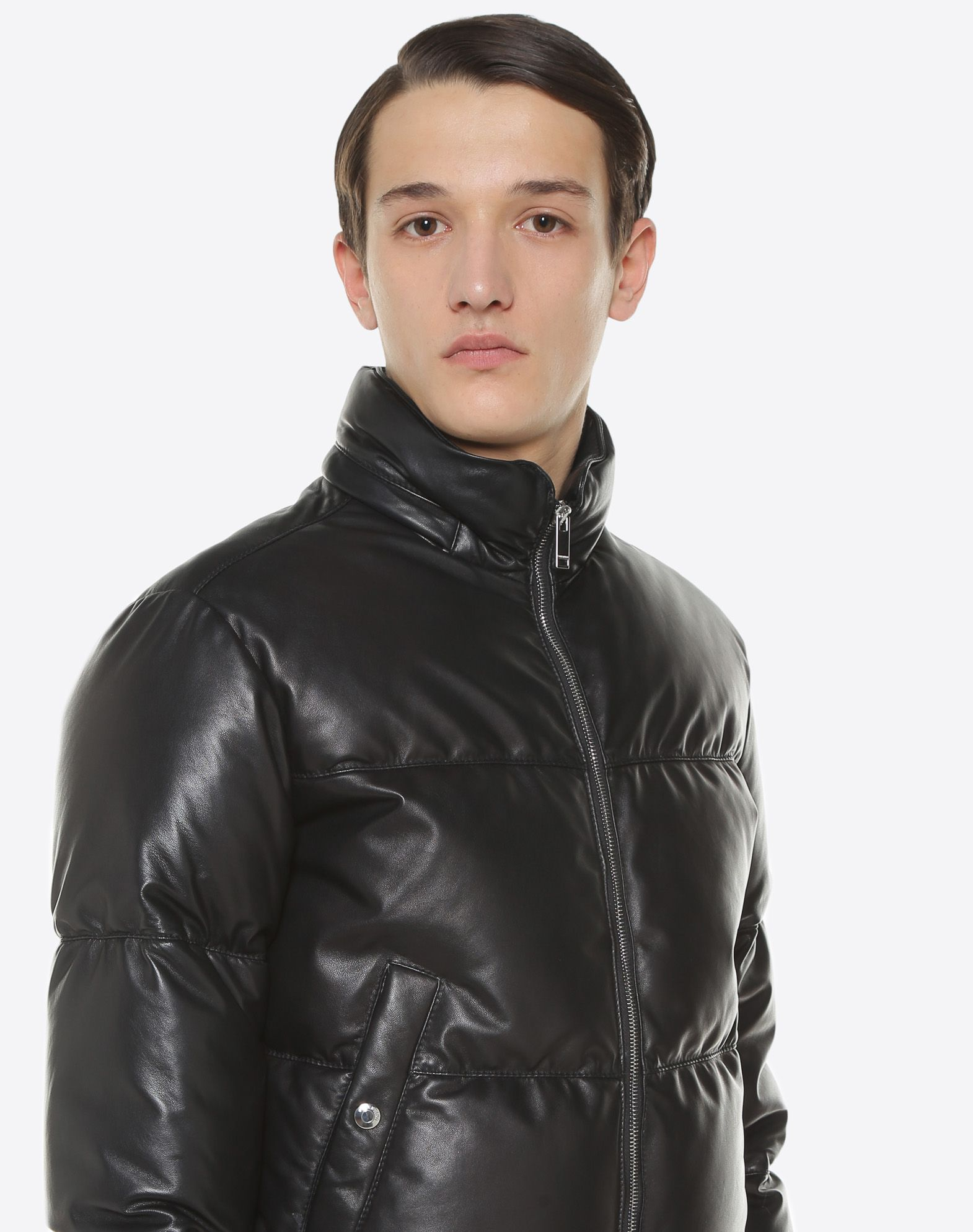 VALENTINO Leather down coat with VLTN print  JACKET U a