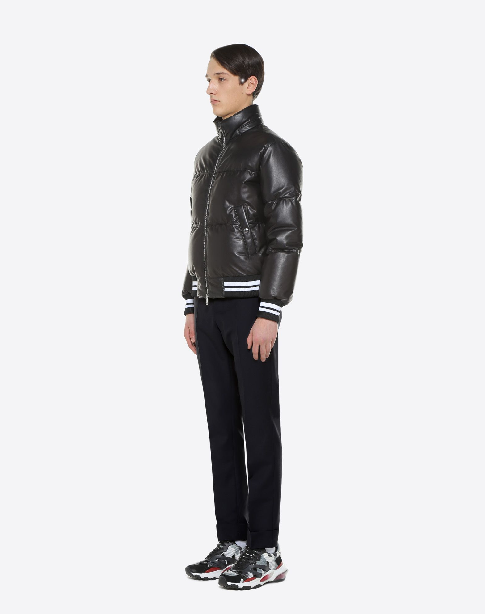 VALENTINO Leather down coat with VLTN print  JACKET U d