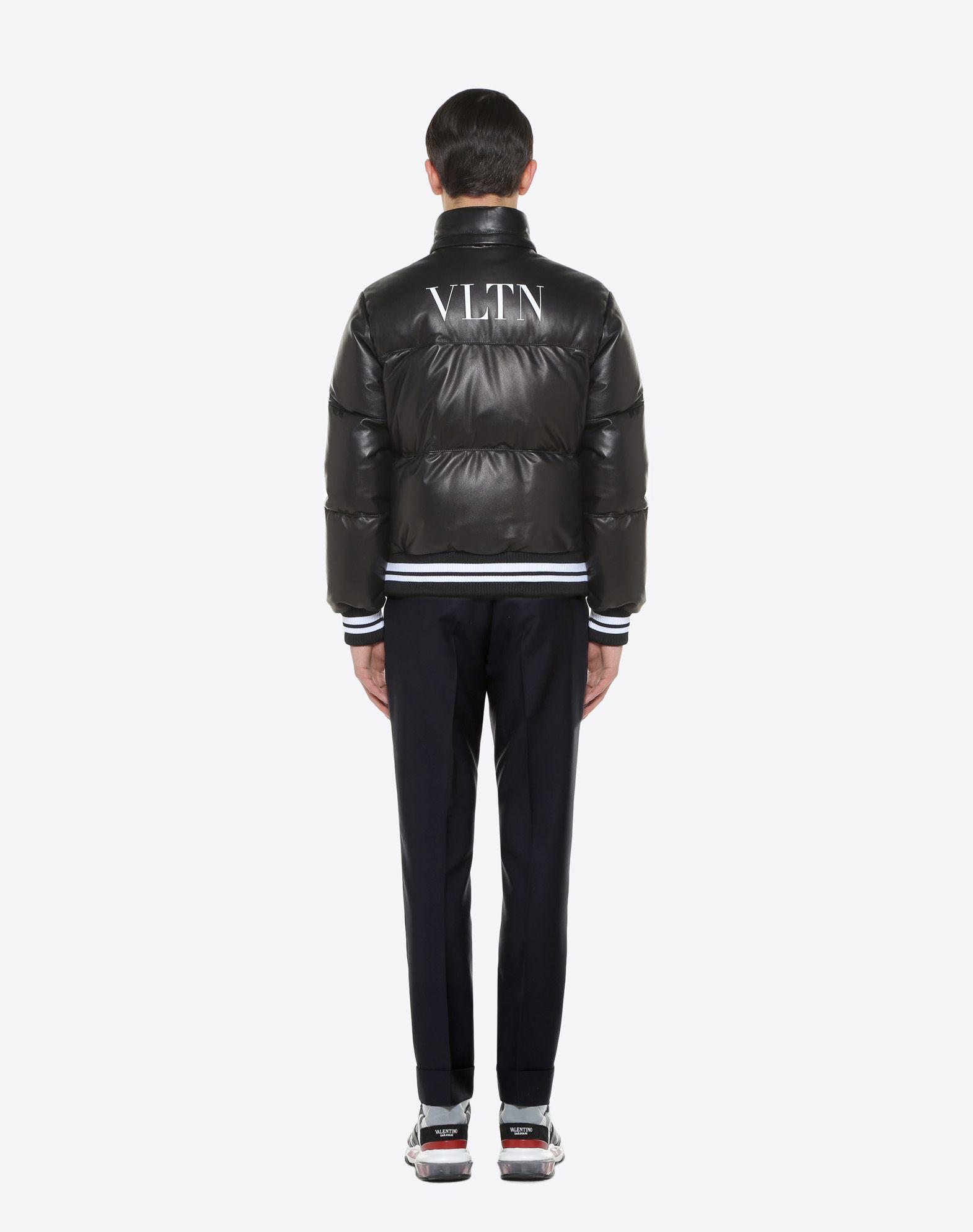 VALENTINO Leather down coat with VLTN print  JACKET U e