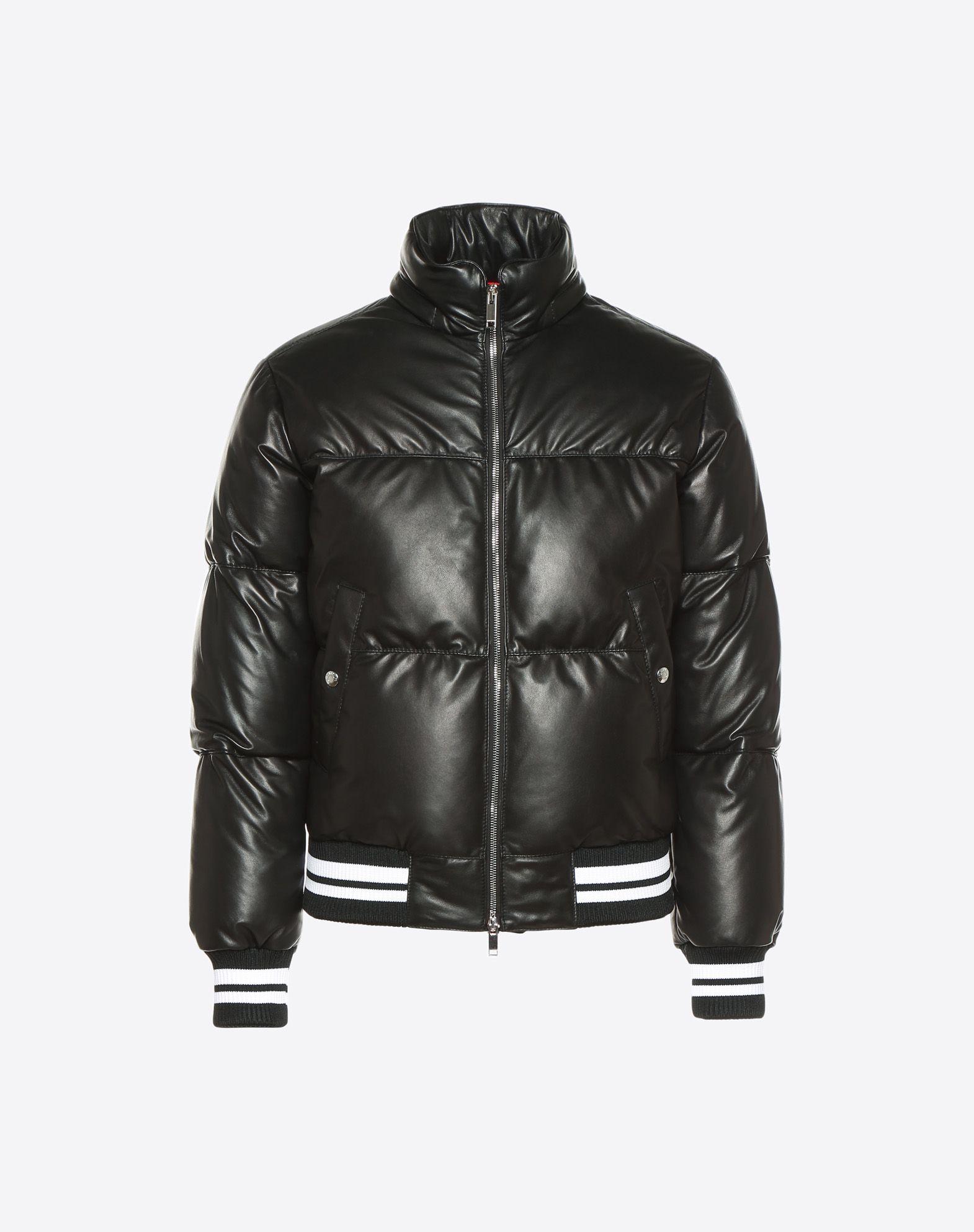 VALENTINO Leather down coat with VLTN print  JACKET U f