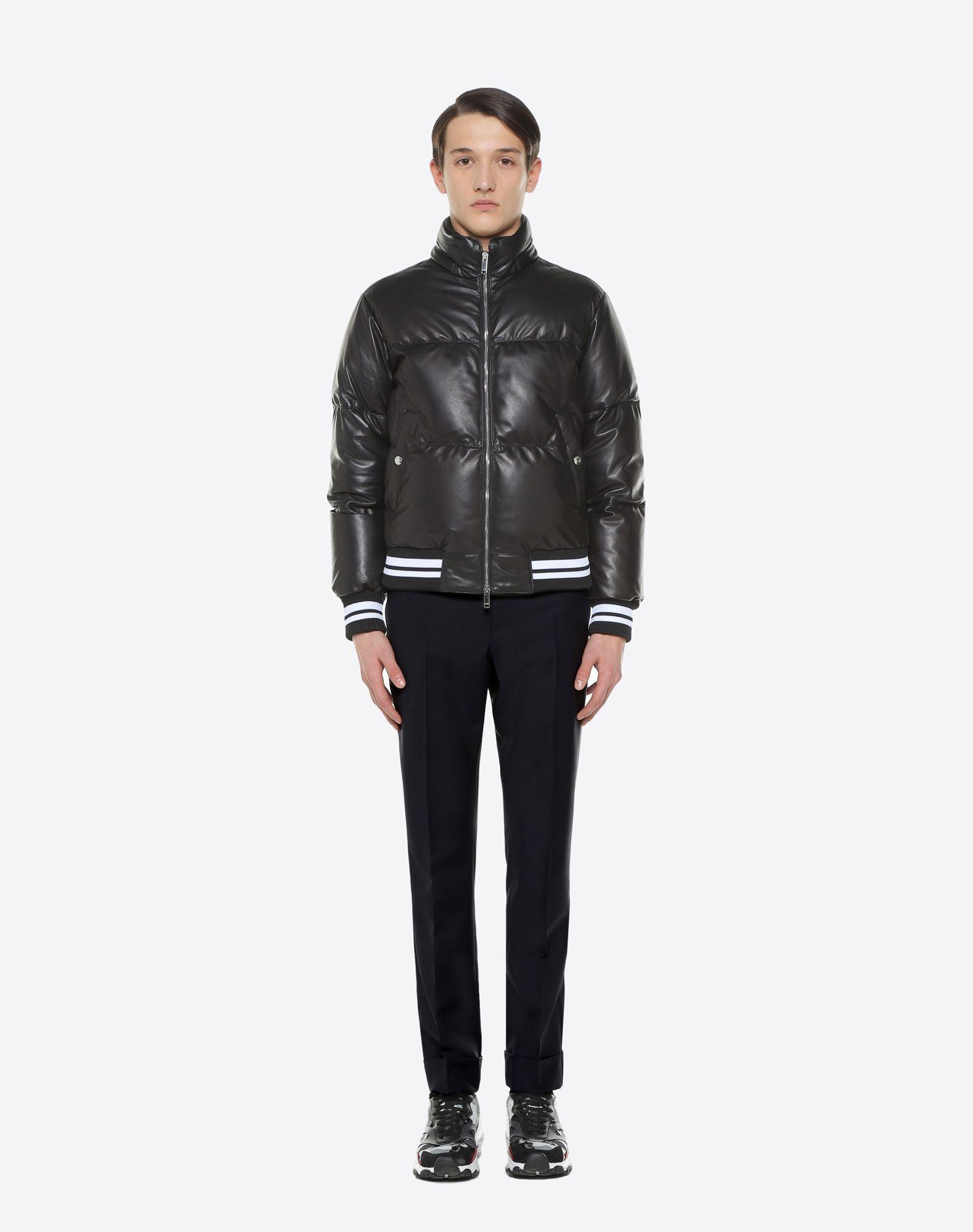 VALENTINO Leather down coat with VLTN print  JACKET U r