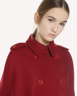 REDValentino Armure fabric cape with scallop detail
