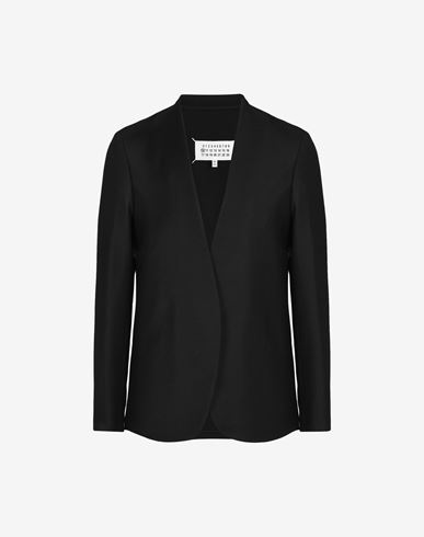 COATS and JACKETS Collarless wool poplin jacket Black