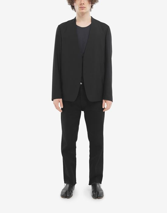 MAISON MARGIELA Collarless wool poplin jacket Jacket [*** pickupInStoreShippingNotGuaranteed_info ***] d