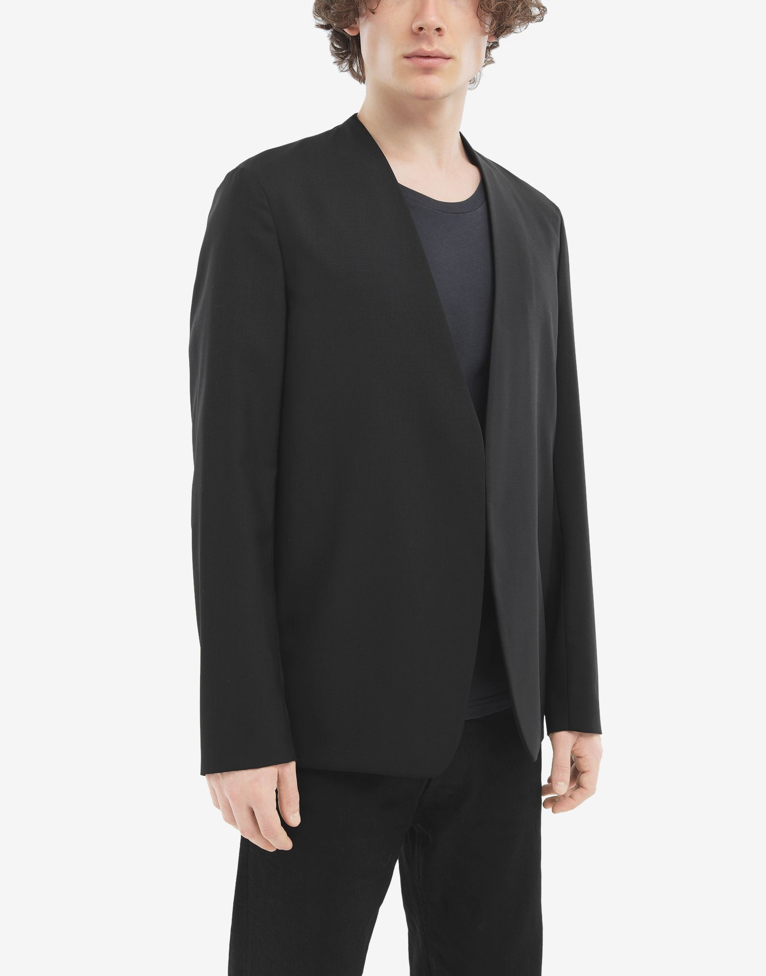 MAISON MARGIELA Collarless wool poplin jacket Blazer Man r