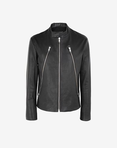 COATS & JACKETS Leather sports jacket Black