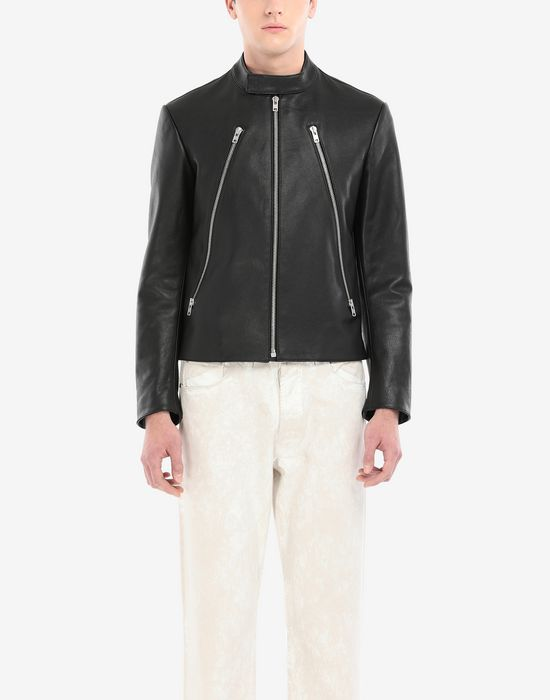 MAISON MARGIELA Leather sports jacket Leather Jacket [*** pickupInStoreShippingNotGuaranteed_info ***] a