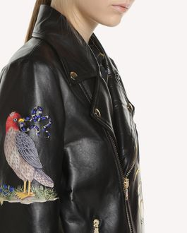 REDValentino Cazadora biker de piel con bordado Enchanted Reptiles and Birds