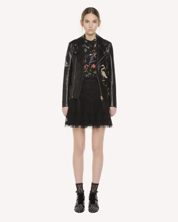 REDValentino Enchanted Reptiles and Birds embroidered leather biker jacket