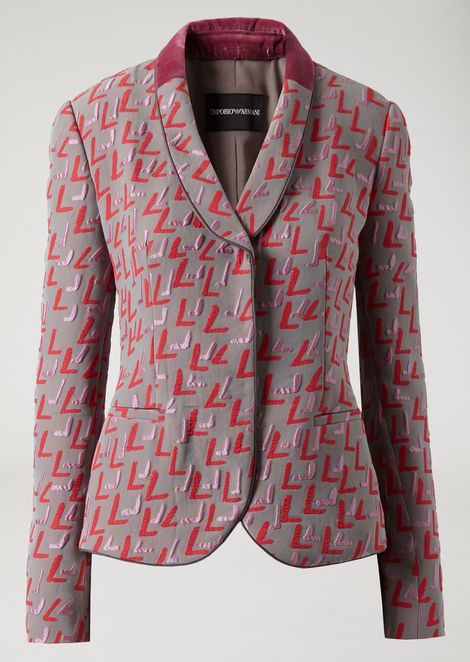 Patterned jacquard jacket with duchesse lapels