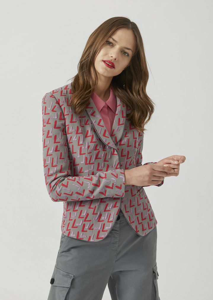 25324676ae Patterned jacquard jacket with duchesse lapels | Woman | Emporio Armani