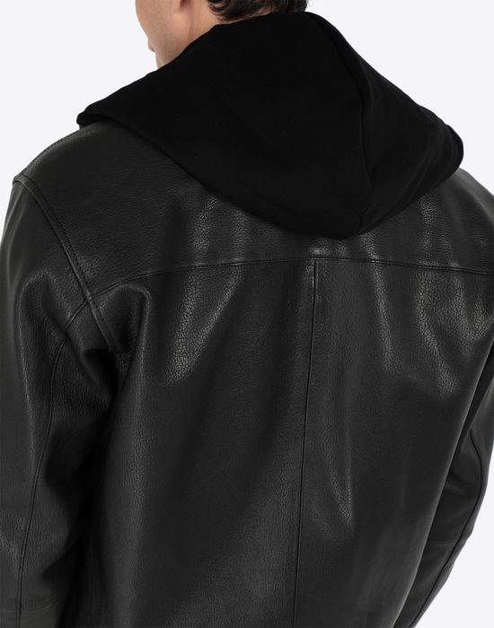 MAISON MARGIELA Leather hoodie jacket Jacket [*** pickupInStoreShippingNotGuaranteed_info ***] b