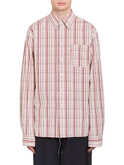 Marni Poplin Shirt with fringed stitching Man