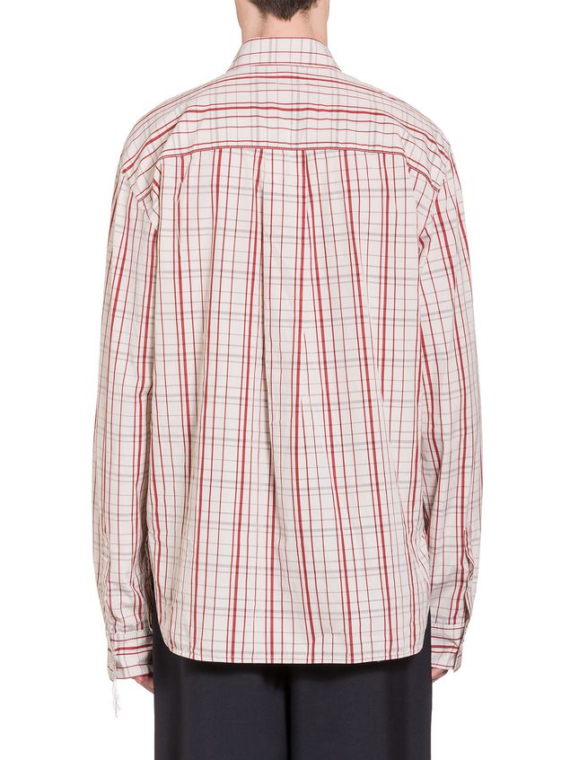 Marni Poplin Shirt with fringed stitching Man