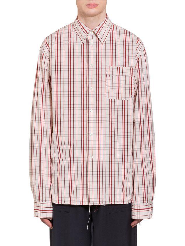 Marni Poplin Shirt with fringed stitching Man - 1