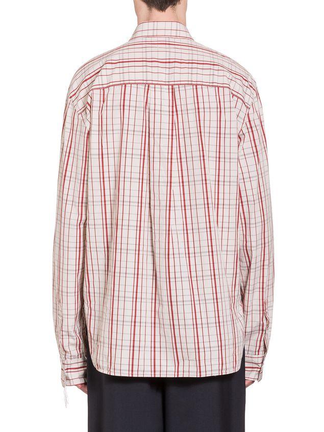 Marni Poplin Shirt with fringed stitching Man - 3