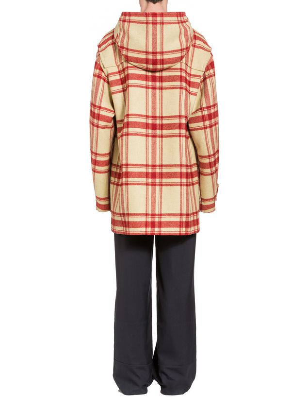 Marni Hooded plaid coat in double wool Man