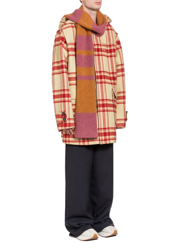 Marni Hooded plaid coat in double wool Man - 4